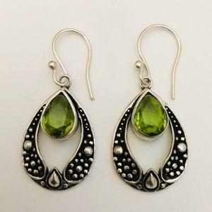 Magnificent Peridot Gemstone Earrings,925 Silver